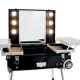 Kozmetický kufor Glamour čierny 9616 (prenosný stolík)