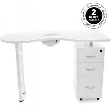 Stôl na manikúru Azzuro 2042, biely, s odsávačkou